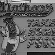 Nathan's Famous In Black And White Poster