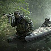 Navy Seals Navigate The Waters Poster
