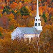 New England Church In Autumn Poster
