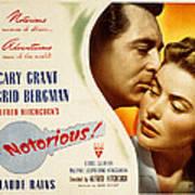 Notorious, Cary Grant, Ingrid Bergman Poster