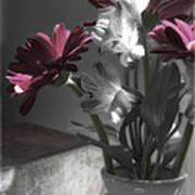 Pink Gerbera Floral Still Life Poster