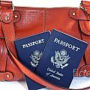 Passports With Orange Purse Poster