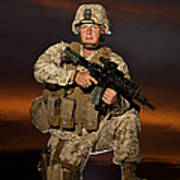 Portrait Of A U.s. Marine In Uniform Poster