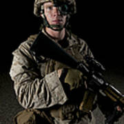 Portrait Of A U.s. Marine Wearing Night Poster