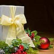 Present Decorated With Christmas Decoration Poster