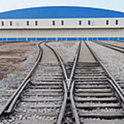 Railway Shed And Sidings. Bright Blue Poster by Guang Ho Zhu