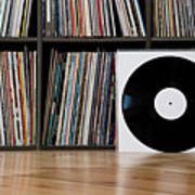 Records Leaning Against Shelves Poster by Halfdark