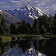 Reflection Of The Teton Mountans Poster by Richard Nowitz