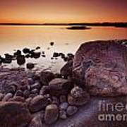 Rocky Shore At Twilight Poster