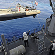 Sailors Lower A Rigid Hull Inflatable Poster