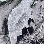 Satellite View Of Kamchatka Peninsula Poster