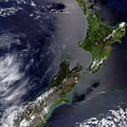 Satellite View Of New Zealand Poster by Stocktrek Images