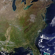 Satellite View Of The United States Poster