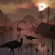 Sauropod And Duckbill Dinosaurs Feed Poster