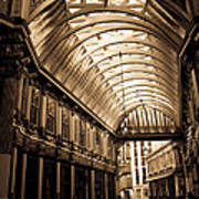 Sepia Toned Image Of Leadenhall Market London Poster