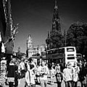 Shoppers And Tourists On Princes Street Edinburgh Scotland Uk United Kingdom Poster