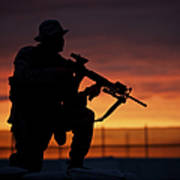 Silhouette Of A U.s Marine On A Bunker Poster