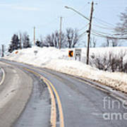 Snow By The Roadside Poster by Ted Kinsman