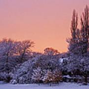 Snow Scene At Sunrise Poster