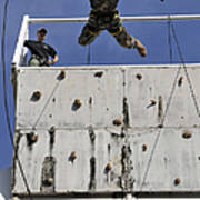 Soldier Rappels Off A Tower While Poster