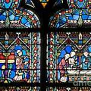 Stained Glass Window Of Notre Dame De Paris. France Poster