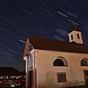 Star Trails Behind Vodice Chapel Poster