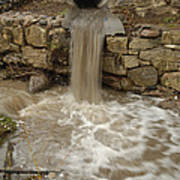 Storm Sewer Water Rushes Into A Stream Poster