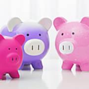 Studio Shot Of Piggy Banks Poster