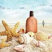 Suntan Lotion And Seashells On The Beach Poster