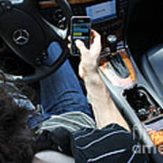 Texting And Driving Poster by Photo Researchers, Inc.