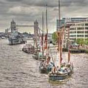 Thames Barges Tower Bridge 2012 Poster