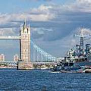 Tower Bridge And Hms Belfast Poster