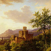 Travellers On A Path In An Extensive Rhineland Landscape Poster