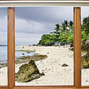 Tropical White Sand Beach Paradise Window Scenic View Poster