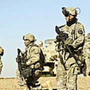 U.s. Soldiers Conduct A Combat Patrol Poster