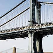 Usa, New York, New York City, Manhattan, Brooklyn Bridge Poster