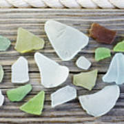 Usa, New York State, New York City, Brooklyn, Collection Of Sea Glass Poster