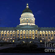 Utah Capitol Building At Twilight Poster