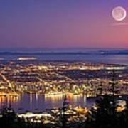 Vancouver At Night, Time-exposure Image Poster by David Nunuk