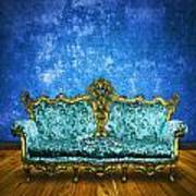 Victorian Sofa In Retro Room Poster