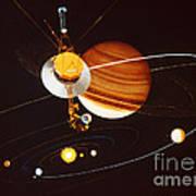 Voyager Saturn Flyby Artwork Poster