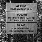 warning sign warning of the border of the turkish military controlled area of the SBA Sovereign Base Poster by Joe Fox