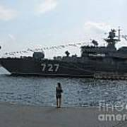 warship in Peterburg Poster