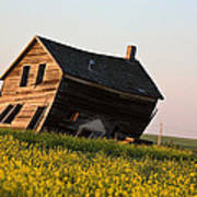 Weathered Old Farm House In Scenic Saskatchewan Poster