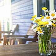 Wildflowers Bouquet At Cottage Poster