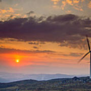 Wind Turbines At Sunset Poster