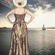 Woman At The Lake Poster