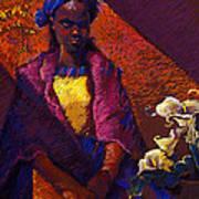Woman With Calla Lilies Poster by Ellen Dreibelbis