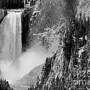 Yellowstone Waterfalls In Black And White Poster