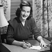 Young Woman Writing Letter At Desk, (b&w) Poster